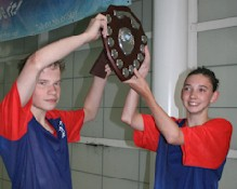 Team captains Sam Rees and Rosie Heape with the Premier League Trophy